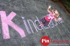 Kindergarten First Day of School Picture with Sidewalk Chalk