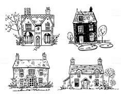 Set of pretty English cottages, vector drawing royalty-free set of pretty english cottages vector drawing stock vector art & more images of architecture Brick Wall Drawing, House Drawing, Haus Vektor, House Doodle, Cute Cottage, House Sketch, Architecture Graphics, House Illustration, Urban Sketching