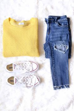 Sweater Weather Favorites - Poor Little It Girl. Yellow sweater+ripped denim+white sneakers. Fall Casual Outfit 2016
