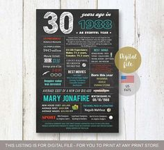 US Fun facts 1988 birthday gift for son husband brother him boy boyfriend boss best friend male men 30th birthday gift idea - DIGITAL file! - THIS LISTING IS FOR A DIGITAL COPY ONLY - NO PHYSICAL PRODUCT WILL BE SHIPPED TO YOU! You will receive high quality jpg file on your email in #boyfriendbirthdaygifts