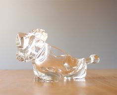 Vintage Lion Art Glass Figurine / Bowl by Sasaki Crystal. $20.00, via Etsy.