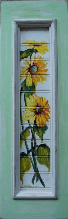 original oil painting of sunflowers on 21x6.5 by AnnettaGregoryArt, $39.95