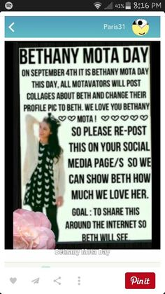 PLS SHARE THIS EVERYWHERE SO THAT BETH HERSELF CAN SEE!!! IM POSTING IT ON EVERY BOARD I HAVE!!!