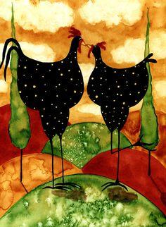 Hubbs Children Art Folk Prints Whimsical Landscape Farm Rooster Chicken Italian Countryside. $25,00, via Etsy.