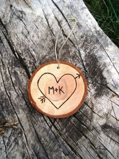 Custom Initials Wood Slice Christmas Ornament | Very Jane