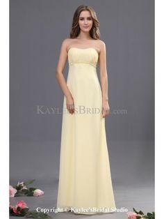 Chiffon Strapless Neckline Floor Length Column Bridesmaid Dress