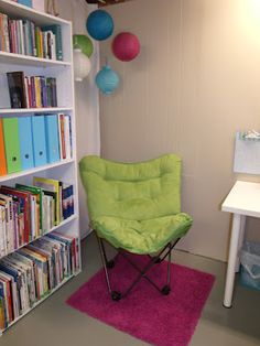 Paper lanterns in reading corner.