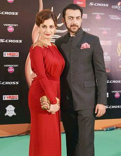 Dia Mirza with husband Sahil Sangha at the green carpet of #IIFAAwards2015 in Malaysia. #Bollywood #Fashion #Style #Beauty #Handsome