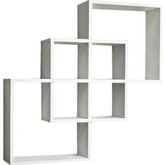 Danya B FF6013W Intersecting Squares Decorative Wall Shelf, White