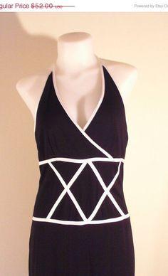 ON Sale 90s Black White Maxi Dress Halter by VendageTresors