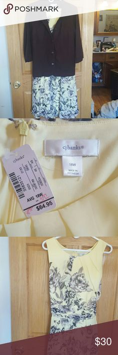 Beautiful dress for all occasions. Beautiful sundress, jacket sold separately. Lemon with Brown flowers. Nice enough for Church or a wedding. Christopher & Banks Dresses Midi