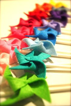 fabric pinwheels for cupcake toppers