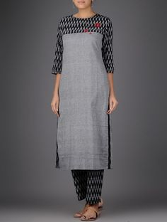 Grey-Black Ikat Hand-embroidered Handloom Cotton Kurta