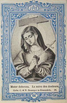 All about Mary. Spiritual Images, Religious Images, Religious Art, Blessed Mother Mary, Blessed Virgin Mary, La Salette, Catholic Art, Catholic Prayers, Vintage Holy Cards