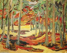 Autumn Woods, by Emily Carr. This print has to been seen to truly appreciate its beauty. Now on display at Goettlers of Dublin Fine Furniture. We feature many works by the Group of Seven. Canadian Painters, Canadian Artists, Emily Carr Paintings, Group Of Seven Paintings, Impressionist Paintings, Landscape Art, Illustrators, Illustration Art, Art Prints