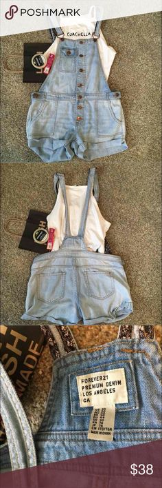 Forever 21 One of a kind Overall Shorts Let your body look sexy by refreshing it with LUSH and dazzling yourself by wearing these Forever 21 denim Los Angeles overall cute faded distressed light blue shorts! Matching this with a Coachella H&M NWT halter top! To tie your glam all together would be outstandingly perfect with Uptopia Lime Crime! This listing is ONLY for the overall shorts, but the other items listed can be purchased as well!  Size: 30 aka 10 BUT it fits smaller like an 8 aka…
