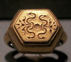 Ring with Hexagonal Bezel with Sri Inscription, late Central Javanese period, 8th-early 10th century, Indonesia, Gold