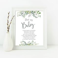 Printable Greenery Don't Say Baby Shower Game, Greenery Eucalyptus Baby Shower Don't Say Baby, Botanic baby shower game INSTANT DOWNLOAD