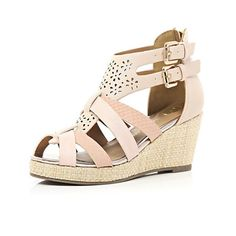 River Island Girls pink lazor cut strappy wedges