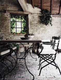 A rustic patio