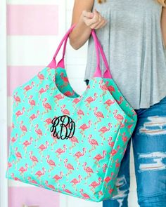 Monogrammed beach bag can be monogrammed with custom embroidery with a name or monogram. Haul it all to the beach with the large bag! Holds a couple of towel and all of the essentials! Large Beach Bags, Flamingo Beach, Embroidered Gifts, Beach Ready, Custom Embroidery, Family Gifts, Beautiful Bags, Color Patterns, Reusable Tote Bags