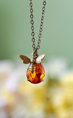 Bee Necklace with drop down amber charm.
