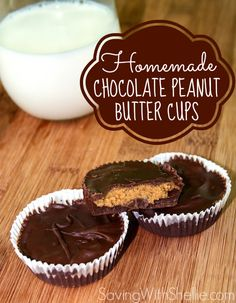 Homemade Chocolate Peanut Butter Cups that contain just 3 ingredients. You can even make them Organic! #HealthyDessert