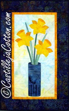 Daffodil Quilted Wall Hanging  A Touch of by castillejacotton, $75.00