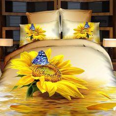 Oil Bedding Sets Home Textile Sunflower Blue Butterfly Bedding Set Queen Size Duvet Cover & Sheet & Case Cotton Christmas Gift, (Comforter Not Included) Boho Duvet Cover, Comforter Cover, Duvet Bedding, Bedspread, Duvet Cover Sets, Duvet Sets, Red Comforter, Pillow Covers, Blue Duvet