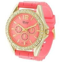 Geneva Platinum 7846 Women`s Decorative Chronograph Rhinestone-accented Silicone Watch-CORAL/GLD: Watches: Amazon.com