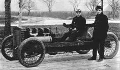 October 25, 1902: Barney Oldfield and Henry Ford, with the Ford 999 racing car, which was 80 horsepower and named after an express train of the period.  Ford recruited Barney Oldfield to drive (and win) the Manufacturer's Challenge Cup at Grosse Point this day. Oldfield would become the most famous American race car driver of his generation.