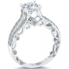2.03 Carat F-SI1 Certified Natural Round Diamond Engagement Ring 18k White Gold