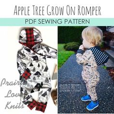 Apple Tree On The Grow Romper *PDF Sewing Pattern* Grow With Me Romper Grow-With-Me Playsuit Baby and Kids Clothing Sewing Pattern Sewing Patterns For Kids, Sewing For Kids, Baby Sewing, Tree Patterns, Print Patterns, Diaper Bag Essentials, Handmade Baby Clothes, Romper Pattern, Layout