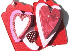 Decorated Valentine Gift Tags Set of 6 Red Pink And by SiriusFun, $5.90