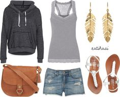 """Summer grey Beach Outfit"" don't like the purse or earrings."