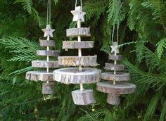 Rustic Tree Ornaments Thinking this could be done with Christmas tree as a keep sake. Natural Christmas, Christmas Makes, Noel Christmas, Country Christmas, Wooden Christmas Trees, Xmas Tree, Wooden Tree, Metal Tree, Wood Ornaments