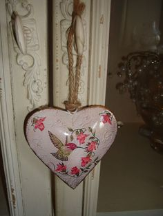 Humming bird and floral shabby vintage chic metal heart hanging decoration | eBay