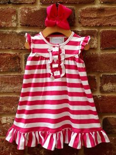 Fuchsia/White Striped Knit Rouching Dress by Lambs in Ivy Basics - S/S