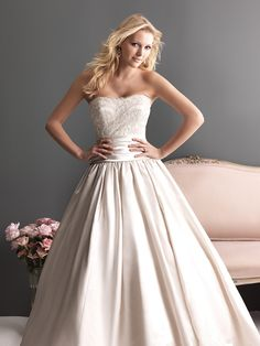 Colors: White/Silver, Ivory/Silver, Champagne/Silver  Fabric: Lace and Satin-Back Taffeta