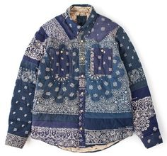 Pattern indigo blue print jacket coat | Folk | White detail |
