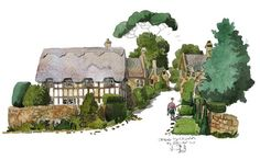 My #watercolour painting of #Stanton in the #Cotswolds. It was very quiet when I painted it.