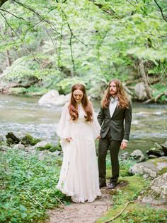 A Bride In Vintage 70s Wedding Gown and the groom wedding portraits…
