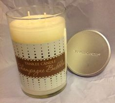 YANKEE CANDLE CHAMPAGNE BUBBLES 20 oz Large Glass Tumbler Soy 2 Wick Candle NWT #YANKEECANDLE