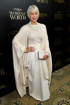 Dame Helen Mirren perfected winter fashion on Wednesday as she stepped out in New York for the L'Oreal Paris Annual Women of Worth Awards. Source by startsatsixty fashion going out Elegant Dresses, Nice Dresses, Womens Worth, Dame Helen, Helen Mirren, Glam Slam, Glamour, L'oréal Paris, Look Fashion