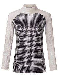 Houndstooth Knit Patchwork Turtleneck Long Sleeve Women Sweater - Gchoic.com