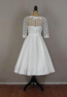 1950s Vintage tea length wedding dress   Visit our site http://fashioncentris.com