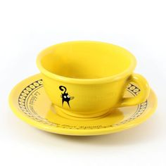 Ceramic tea cup with plate. Handcrafted in Italy by Gatto Matto Design.