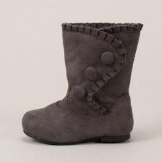 Grey Boot w/ Button & Ruffle Detail. I wish these weren't kids boots. Little Girl Names, Little Girls, Kids Girls, Toddler Boots, Kids Boots, Grey Boots, Fall Boots, Toddler Fashion, Kids Fashion