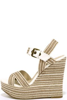 """The MIA Francis White Natural Rope Platform Wedges are tall, beachy, and beyond cute with their striped, rope-wrapped upper! Peep-toe design includes an adjustable quarter strap with antiqued brass buckle. 1.5"""""""" toe platform."""