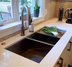 undermount sink with drainboard Kitchen Contemporary with air switch brushed stainless